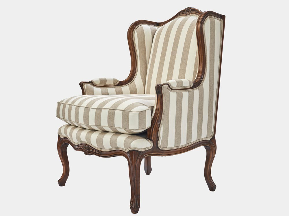 French Accent French provincial Louis XV style armchair walnut striped fabric side 45