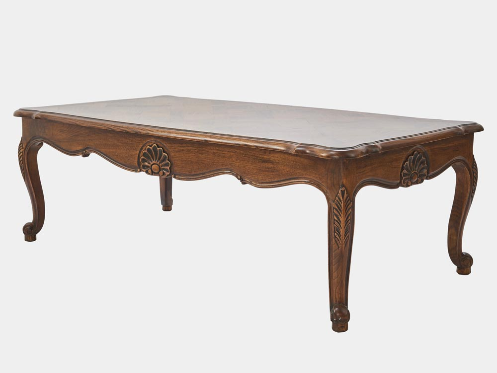 French provincial louis xv style coffee table oak walnut Vogue coffee table