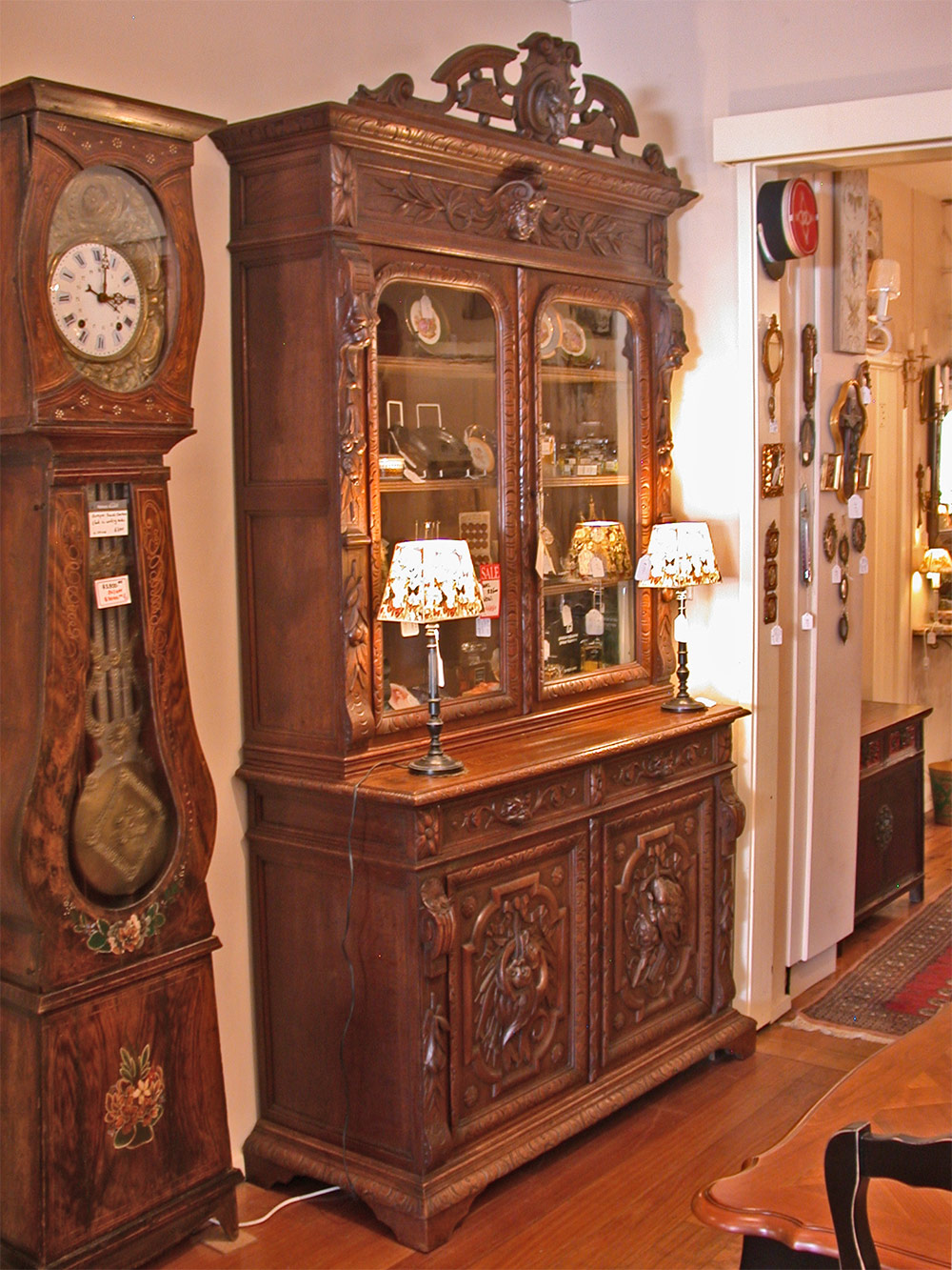 Antique French Henri II oak buffet or bookcase with carvings ...