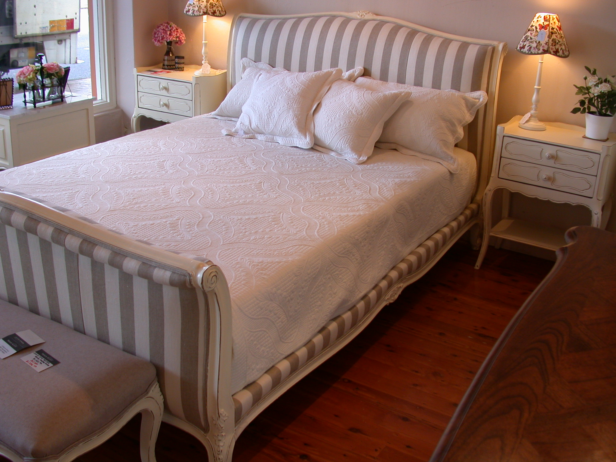 28be2f9ede43 French provincial Louis XV style sleigh bed stripe fabric – white ...